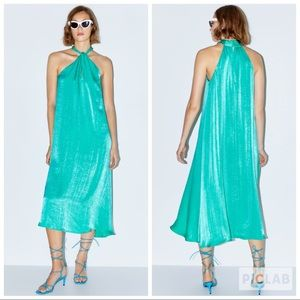 NWT • Zara • Satin Effect Halter Dress 👗